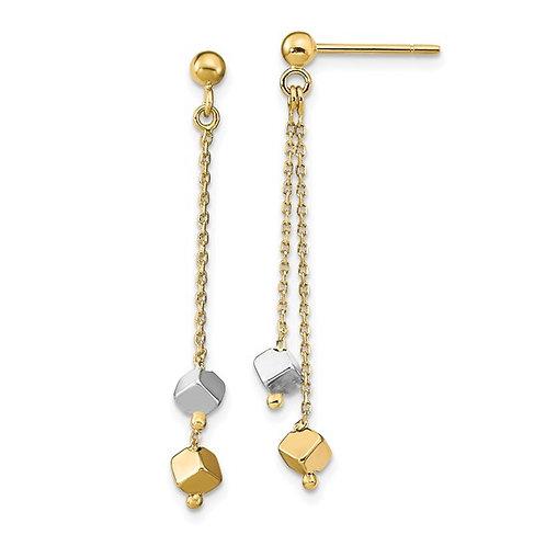 Beautiful 14k Two Tone Gold Polished Beaded Post Dangle Drop Earrings