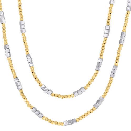 14k Yellow & White Gold Double Strand Beaded Necklace Polished Textured Finish