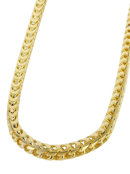 "Solid Franco Handcrafted 10K Yellow Gold Chain Necklace Measures 26"" 7mm"