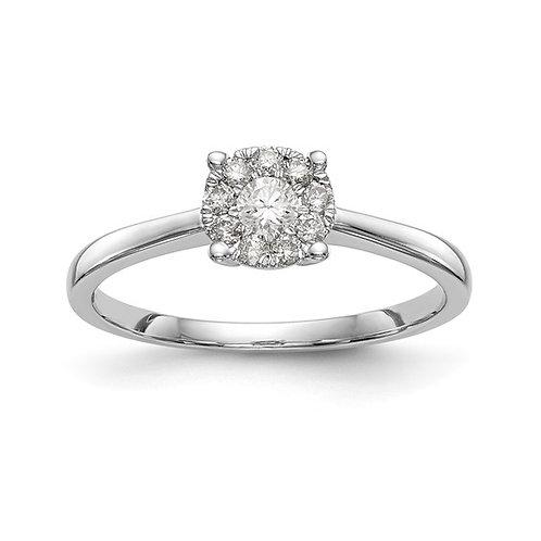 Engagement Ring 14k White Gold & Diamond Cluster GORGEOUS!