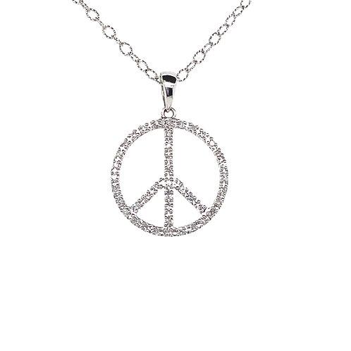 Stunning 14K White Gold Diamond Peace Sign Pendant Necklace