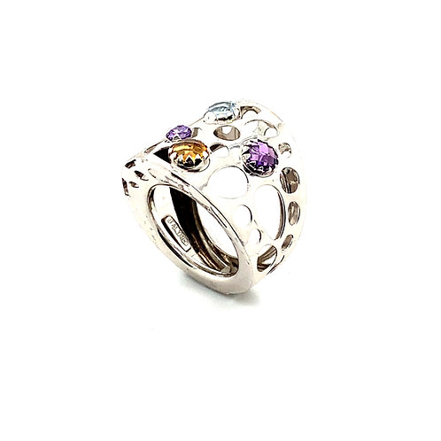 Art Deco Style Unique Contemporary Design Gemstone 14K White Gold