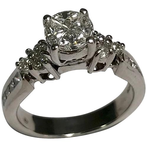 14 K White Gold 1.18 CTW Diamond Wedding Set, Comes With IGI Cert