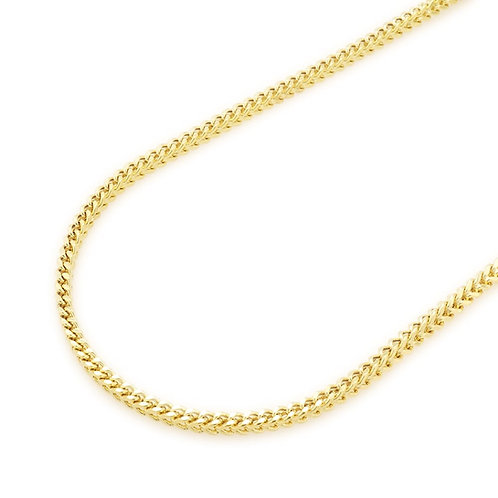 "Solid Franc Handcrafted 14K Yellow Gold Chain Necklace Measures 24"" 4mm"