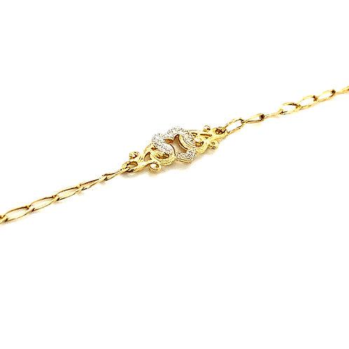 """Dainty Sweet Heart Love 14k Gold Paper Clip Link Bracelet 7"""""""
