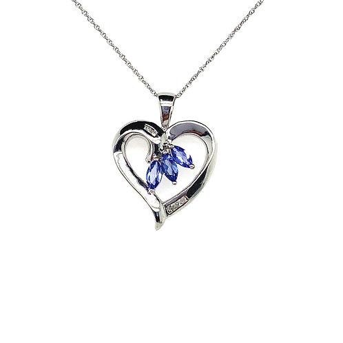 Stunning 14K White Gold Tanzanite Heart Pendant Necklace