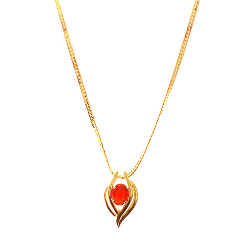 GORGEOUS! Mexican Fire Opal Pendant and Necklace Set in Handcrafted 14K Gold