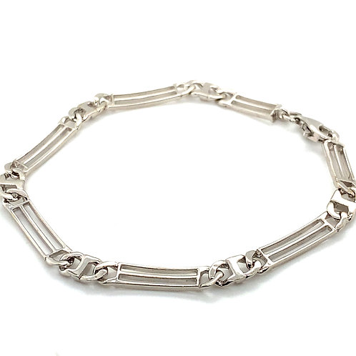 Beautiful Handcrafted 14k White Gold Fancy Link 7mm Bracelet Measures 7.5""