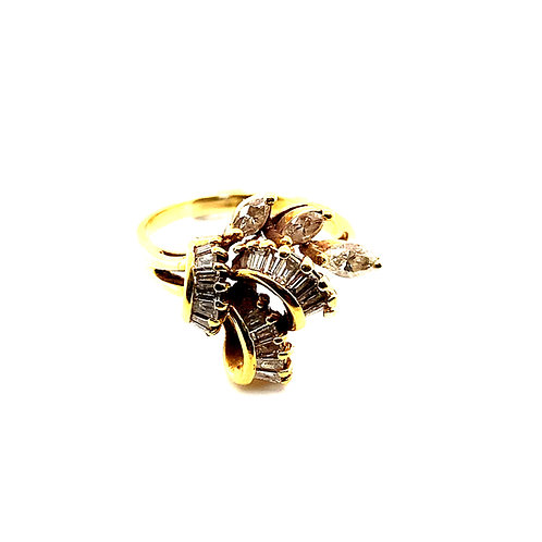 Gorgeous BLING! 0.75ct of Diamonds Cluster Set in Handcrafted 14k Yellow Gold