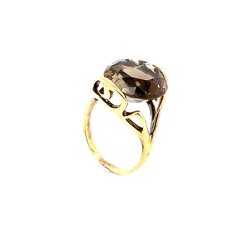 Stunning 14K Gold 7 Carat Smokey Quartz Ring