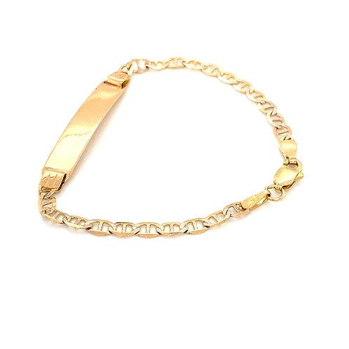 """Child's Baby 10k Rose Gold Pave Mariner Link ID Bracelet Measures 5.5"""" 3mm"""