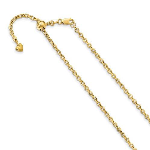 "14k Italian Yellow Gold Adjustable Semi Solid Diamond Cut Cable Chain 22"""