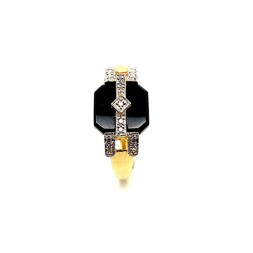 Men's Gorgeous Black Onyx & Diamond Ring Set in Handcrafted 14k Yellow Gold
