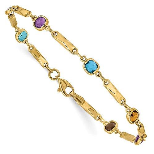 "14k Yellow Gold Multi Gemstone Fancy Link Bracelet Gorgeous Piece! 7"""