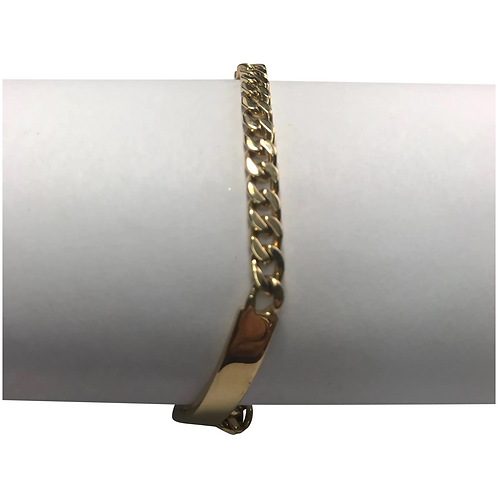 18 K Yellow Gold Curb Link Double ID Bracelet