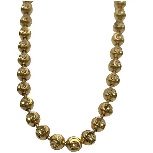 "10 K Yellow Gold Diamond Cut Moon Link Unisex Chain, 30"" Length"