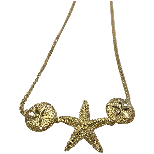 Vintage 14 k Yellow Gold Star Fish And Sand Dollar Necklace