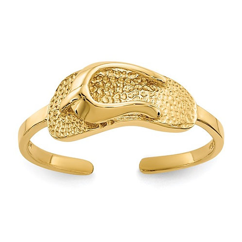 Sandal Flip Flop Beach Fun in Sun Toe Ring Handcrafted 14K Yellow Gold