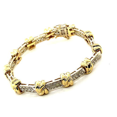 Luxury 3ct Diamond Bracelet Set in Handcrafted 14k Yellow Gold Thick 8mm Solid