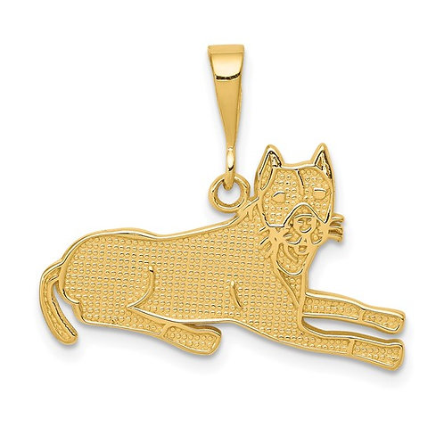14k Solid Gold Pit Bull Charm Pendant NICE!