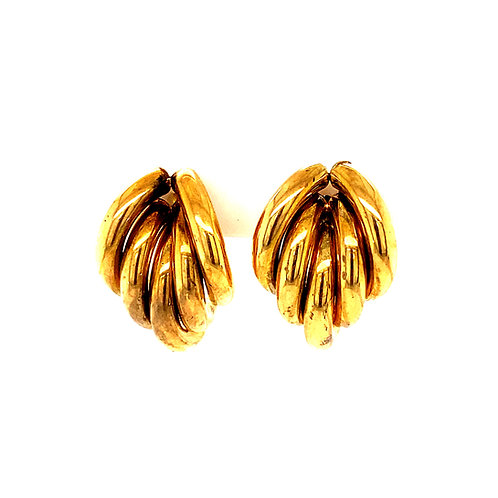 """Handcrafted 14k Yellow Gold Cluster Design Drop Earrings 3/4"""" Sophisticated"""