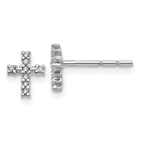 14k White Gold & Diamond Cross Post Earrings Absolutely Gorgeous!