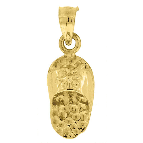 10K Textured Polished Yellow Gold Baby Flip Flop Charm Pendant CUTE!