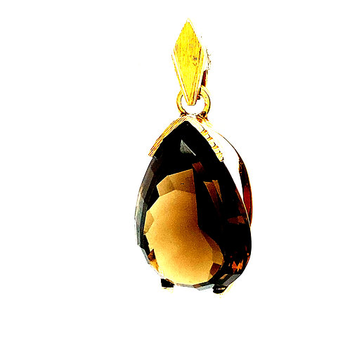 """Large Smoked Quartz 10ct Pendant Set in Handcrafted 14K Gold Measures 1.5"""""""