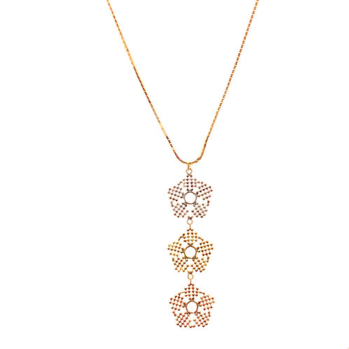Beautiful Tri-Color Snowflake Pendant and Necklace Handcrafted 14k Gold
