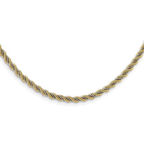 """14k Two Tone White & Yellow Gold Textured Rope Necklace Italy 3.3mm Measures 18"""""""