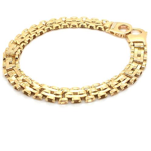 Super Thick 10mm Fancy Link Bracelet 14k Handcrafted Fine Gold