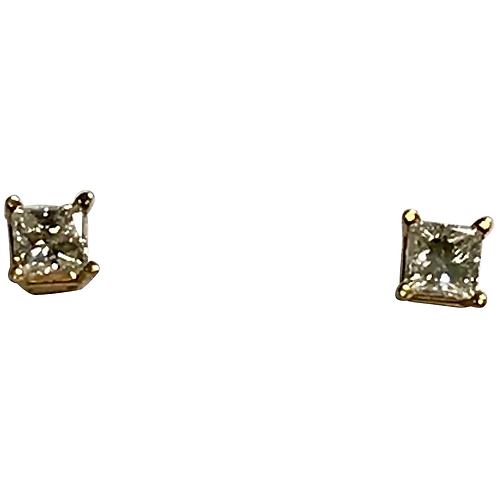 14 K Yellow Gold 0.50 CTW Princess Cut Diamond Stud Earrings, Comes With IGI Cer