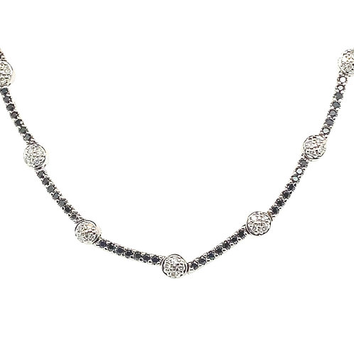 Exquisite 14K White Gold 2.50 CT White and Black Diamond Necklace and Bracelete