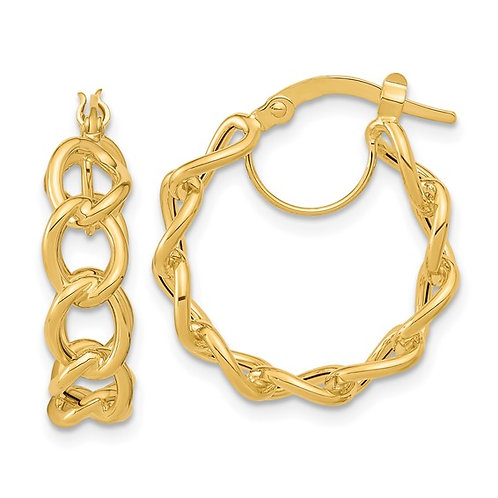 14k Yellow Gold Cable Link Circle Hoop Earrings