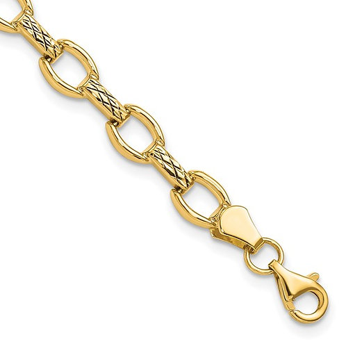 """14k Diamond Cut Fancy Link Gold Bracelet Measures 7"""" GORGEOUS!"""