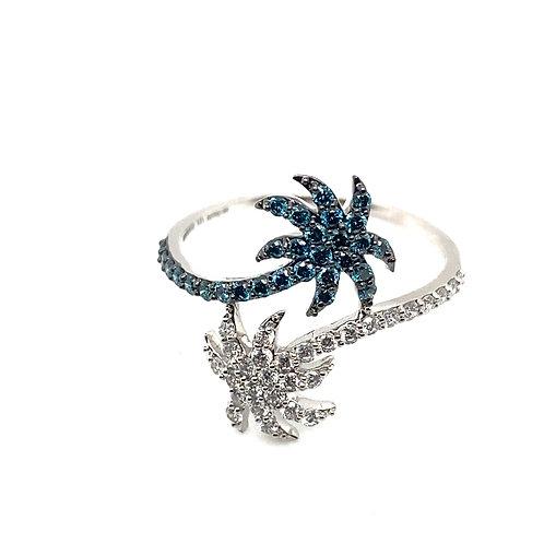 Gorgeous Unique Palm Tree Ring Diamond & Hampton Blue Topaz In 14K White Gold