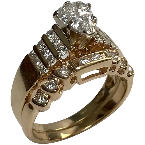 14 K Yellow Gold 1.00 CTW Diamond Wedding Set