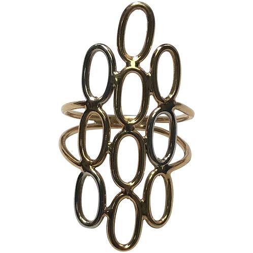 14 K Yellow /White Gold Elongated Fashion Ring