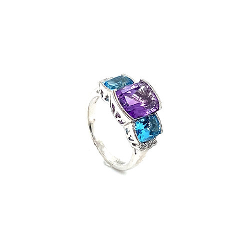 Gorgeous 14K White Gold 2 Carat Amethyst and Blue Topaz Ring