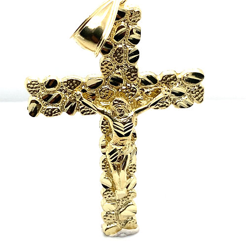 Gorgeous Large Jesus on Cross Pendant Handcrafted 10K Solid Gold Measures 2 3/4""