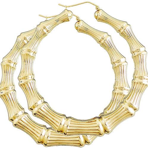 "Beautiful Super LARGE Handcrafted 10K Yellow Gold Hoop Earrings Measures 3"" Big"