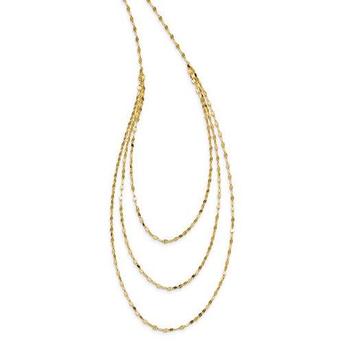 "14k Polished Fancy Multi-Strand Unique Gold Necklace Measures 19.5"""