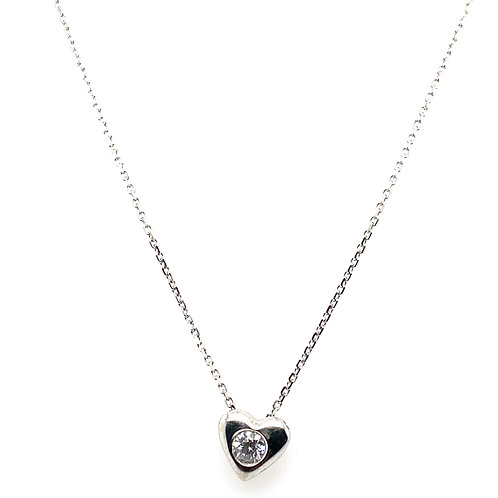 Beautiful Diamond Heart Pendant Necklace Handcrafted 18K White Gold Measures 16""
