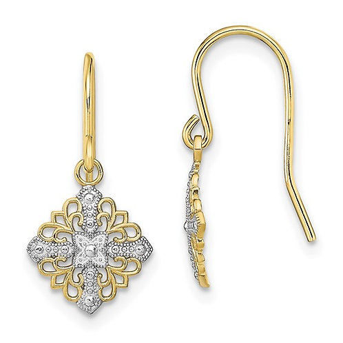 10k Two Tone Gold Fancy Filigree Drop Dangle Earrings
