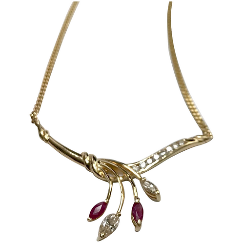14 k Yellow Gold Marquise Ruby & Diamond Necklace