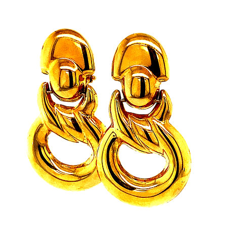 "Beautiful Gold Earrings Measure 1.5"" Handcrafted 14k Yellow Gold Upscale Quality"