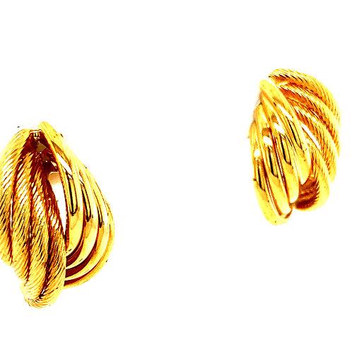 Swirl Design Polished & Satin Finish Handcrafted 14k Yellow Gold