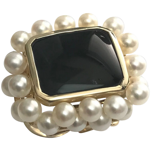 14 K Yellow Gold Onyx & White Cultured Pearl Ring
