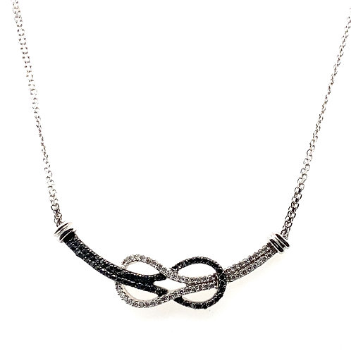 Beautiful Black & White Diamond Necklace Handcrafted 14k White Gold Measures 17""