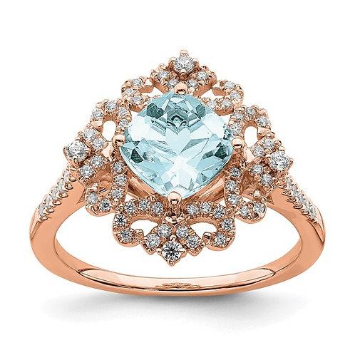 14k Rose Gold Aquamarine Vintage Style Diamond Halo Engagement Ring